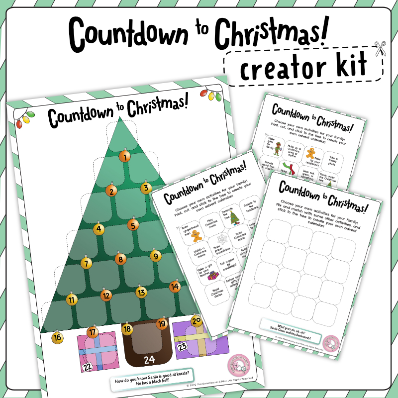 Countdown to Christmas Activities Advent calendar creator kit for kids